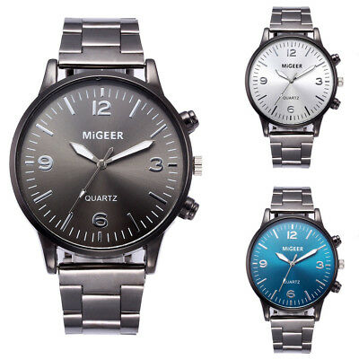 Business Man Stainless Steel Analog Quartz Watch Luxury Crystal Men Wrist Watch