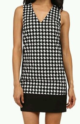 7873c3427e2 Michael Kors Houndstooth Colorblocked Sutter Sleeveless Shift Dress Size 12