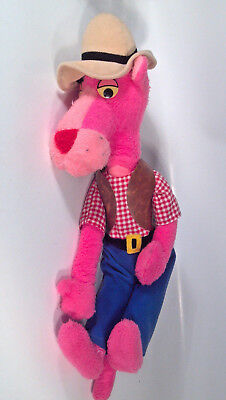 """Vintage 1980 Pink Panther Cowboy Doll Plush Stuffed 20"""" Mighty Star"""