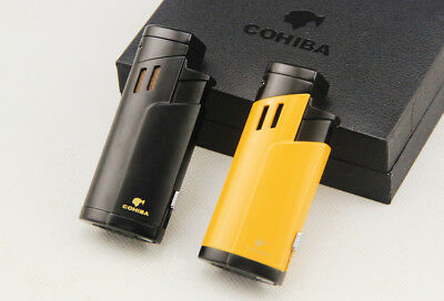 COHIBA Cigarette Cigar Lighter Metal Windproof 3 Torch Jet Flame Lighter