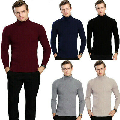 New Mens Slim Fit Knitted Sweater Turtleneck Jumper Knitwear Pullover