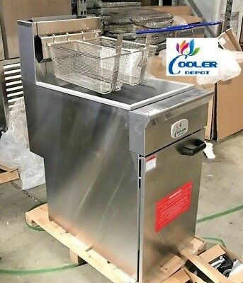 NEW Commercial Natural Gas or Propane 40lb Stainless Steel Floor Deep Fryer(NSF)