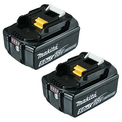 2X Genuine Makita BL1850B 18V 5.0Ah Lithium-Ion Battery with Indicator