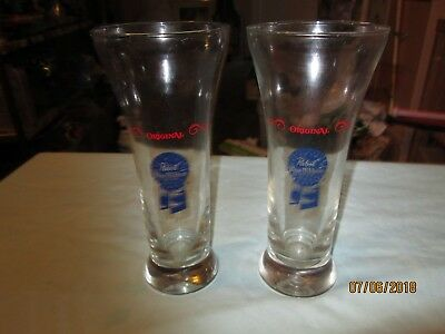 """Two """"pabst Blue Ribbon Beer"""" Drinking Glasses-1970's"""