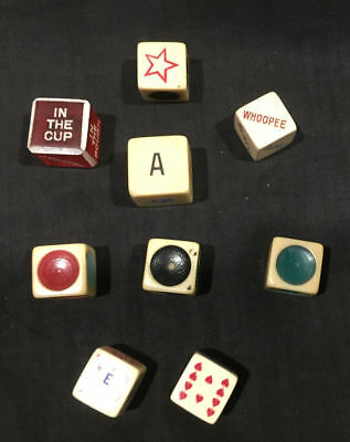 Lot of Various Vintage Dice - Golf, Star, Cards, Colored Circles, Whoopee
