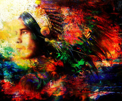 Feather Indian man High Quality wall Art poster Choose your Size