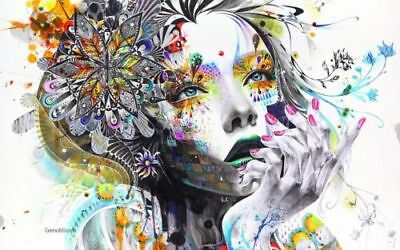 abstract woman , watercolor  High Quality wall Art poster Choose your Size