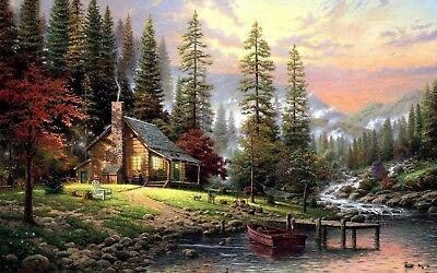 Peaceful house, country, falls High Quality wall Art poster Choose your Size