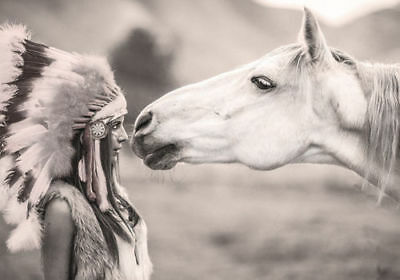 Horse and white Indian  High Quality wall Art poster Choose your Size