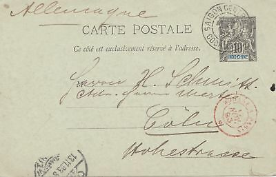 French colonies: Indo-chine: 1893: post card Saigon central to Köln