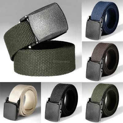 Mens Army Style Buckle Nylon Belt Sports Outdoor Waist Canvas Belt Adjustable