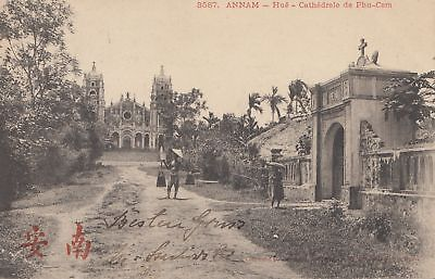 French colonies Indo-chine 1905: post card Annam to Dresden - Feldwebel