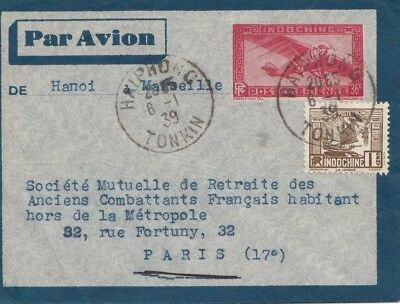 French colonies Indo-chine 1939 air Mail Tonkin to Paris