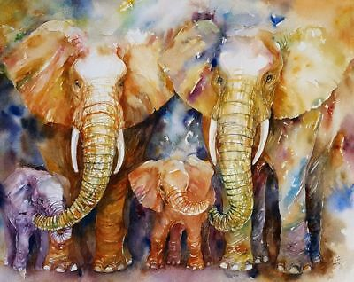 Family Elephant , animal High Quality wall Art poster Choose your Size