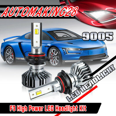 Pair 9005 HB3 CSP LED Headlight Bulb High Power 6000K Dual Color 2000W 300000LM