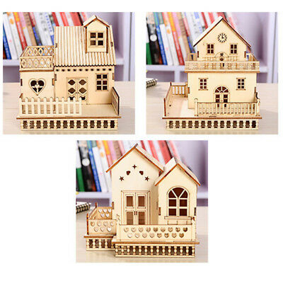 DIY Model Miniature Dollhouse Wooden Frame Doll House Kit Toy Xmas Decor Gift