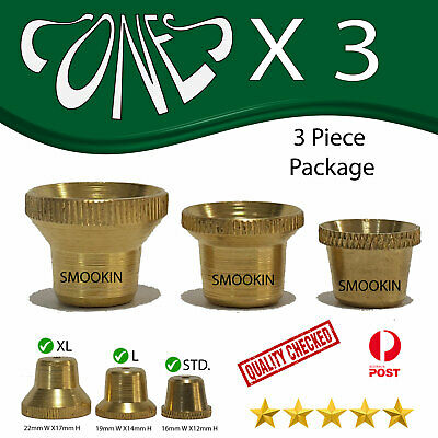 3 Pcs. package Cone pieces metal cones smoking pipe bong brass pipes brass cones