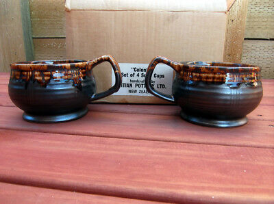 Vintage Retro 1970's Drip Glazed Soup Cups Titian Pottery – Made in New Zealand
