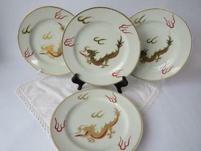 Early 20th c Dragon Plates - Four Japanese Porcelain Plates - Red & Gold Dragons
