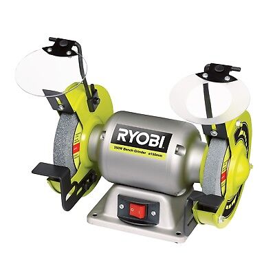 Ryobi 250W 150mm Bench Grinder Magnifying protective lens on fine grit wheel
