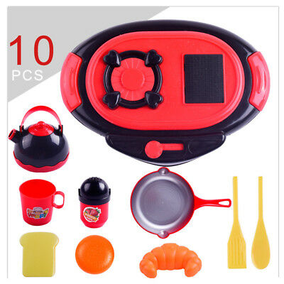 10pcs Kids Kitchen Pretend Role Play Cutting With Plastic Pan Cups Turner Set To