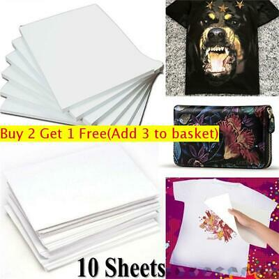 10Pcs A4 Iron On Print Heat Press Transfer Paper Light Fabric T-Shirt UK