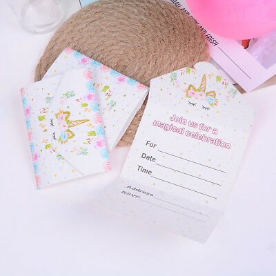16pcs unicorn invitations card unicorn cards birthday wedding party invitationRD