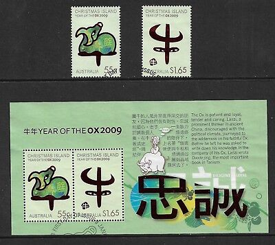CHRISTMAS ISLAND 2009 Year of the Ox, mini sheet + set, used, first day cancel