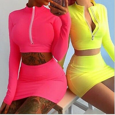 Women Co Ord Two Piece Dress Set Pullover Crop Top+Holiday Bodycon Skirt Dresses