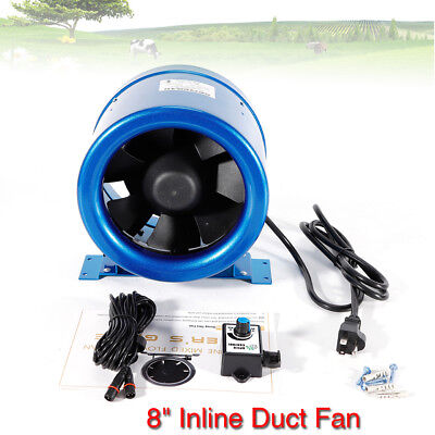 "8"" Mixed Flow Inline Duct Fan Bathroom Extractor Booster Ventilation 700m³/h US"