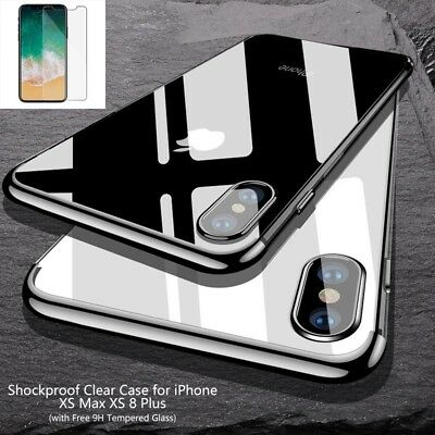 For iPhone XS Max XS Shockproof TPU Slim Transparent Case Cover + Tempered Glass