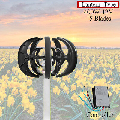 400W VAWT Lanterns Wind Turbine Generator Vertical Axis with Controller 12V USA