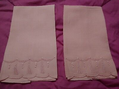 """2 Beautiful Matching Madeira Embroidered  Pink Linen Hand Towels 21"""" by 12"""""""