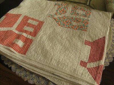 "ANTIQUE COLLECTIBLE HAND MADE V. GOOD COTTON SCHOOLHOUSE QUILT 72x80"" RARE FORM!"