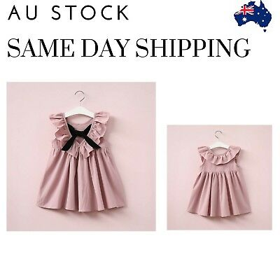 Dusty pink toddler girl ruffle collar V back with bow baby dress