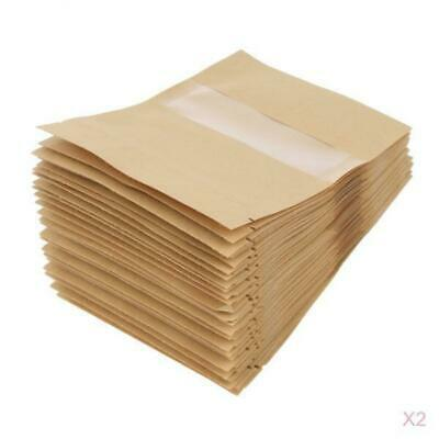 100x Kraft Paper Bags Stand Up Pouch Food Zip Lock Packaging Window 9x14cm