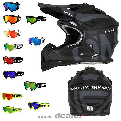 2019 O'Neal 2series Slick schwarz Helm Crosshelm MX Motocross + HP7 Crossbrille