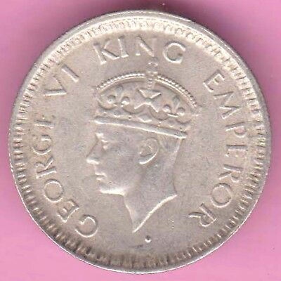 British India-1944-Bombay Mint-1/4 Rupee-King George 6-Rarest Silver Coin-54