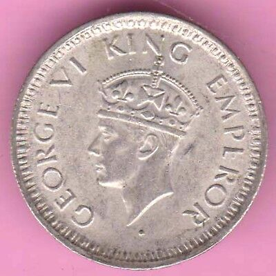 British India-1944-Bombay Mint-1/4 Rupee-King George 6-Rarest Silver Coin-53