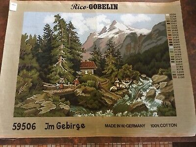 VINTAGE Unworked GOBELIN TAPESTRY CANVAS West Germany MOUNTAIN SCENE