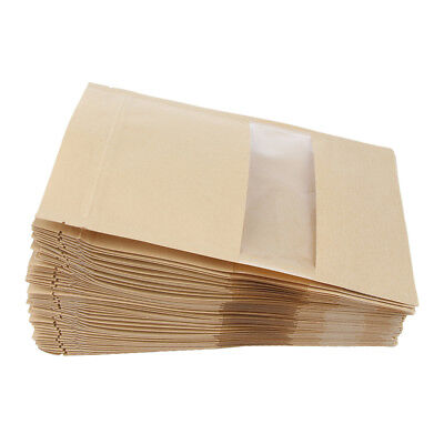 100Pcs Kraft Paper Bag Stand Up Pouch Food Zip Lock Packaging Bags 12x20cm