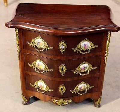 Mini antique French Louis XV chest of drawers Apprentice jewellery gilt rococo