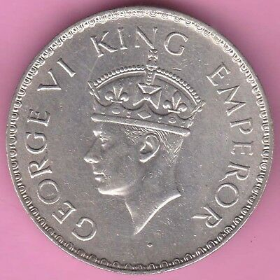 British India-1940-Bombay Mint-One Rupee-King George 6-Rarest Silver Coin-28