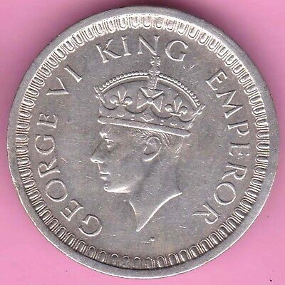 British India-1942-Bombay Mint-One Rupee-King George 6-Rarest Silver Coin-30