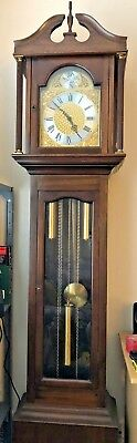 Modern reproduction long case clock with 'Tempus Fugit' motif - fully working