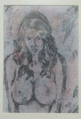 Charcoal Drawing of a Nude Female: Original Art /A4 Size