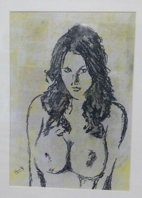 Charcoal Drawing of a Nude Female: Original Art / A4 Size