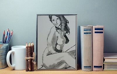 Charcoal Drawing of a Female Nude Original Art/A4 Size