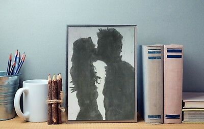 Charcoal Drawing of ROMANTIC COUPLE: Original Art