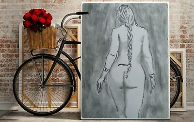 Charcoal Drawing of a Nude Female: Original Art/A3 size
